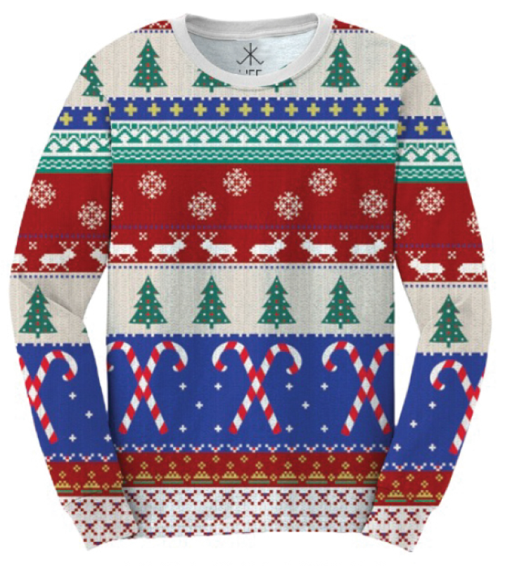 Festive Ugly Christmas Sweater Faux Shirt