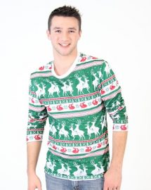Reindeers and Rabbits Ugly Christmas Sweater Faux Shirt